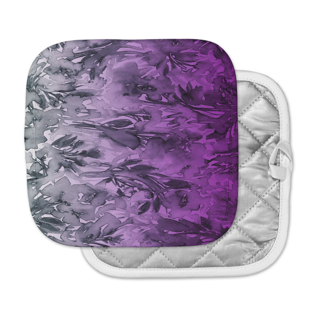 "Ebi Emporium ""Forever Flowers, Purple Ombre"" Purple Gray Watercolor Pot Holder"