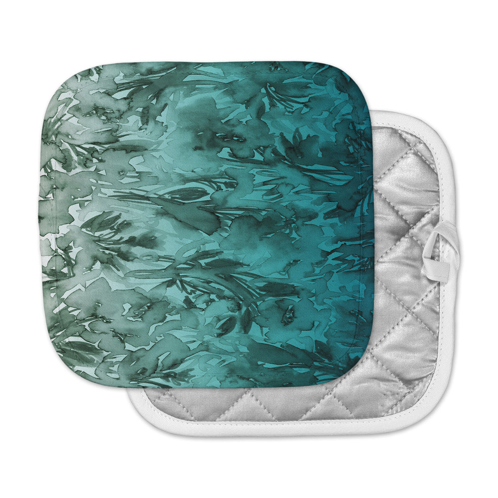 "Ebi Emporium ""Forever Flowers, Teal Ombre"" Teal Gray Watercolor Pot Holder"