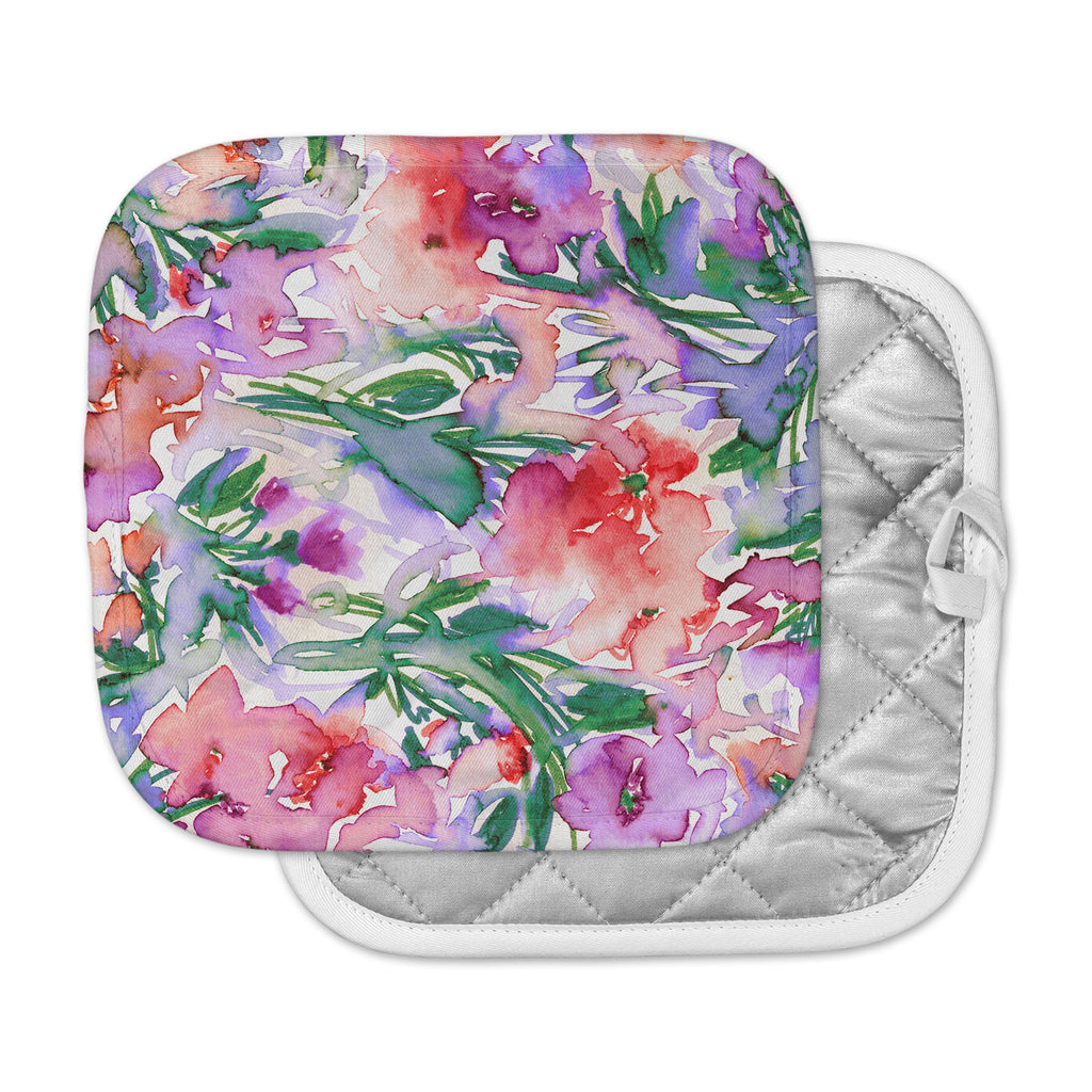 "Ebi Emporium ""Floral Destiny 8"" Red Lavender Watercolor Pot Holder"