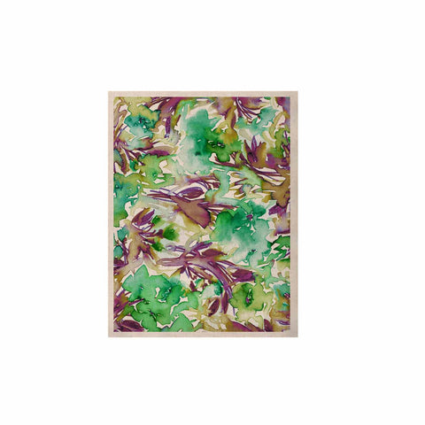 "Ebi Emporium ""Floral Destiny 9"" Green Purple Watercolor KESS Naturals Canvas (Frame not Included)"