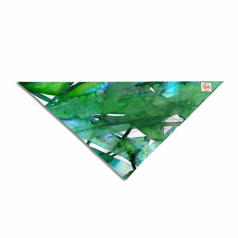 "Ebi Emporium ""Guiding Lights 4"" Green Abstract Watercolor Pet Bandana"