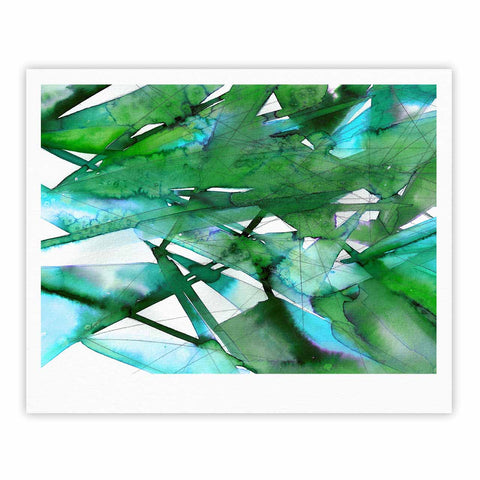 "Ebi Emporium ""Guiding Lights 4"" Green Abstract Watercolor Fine Art Gallery Print"