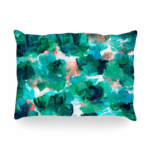 "Ebi Emporium ""Floral Spray 4"" Red Floral Abstract Painting Mixed Media Oblong Pillow"