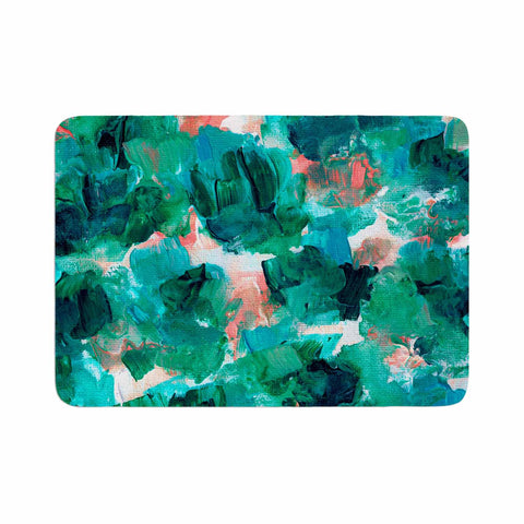"Ebi Emporium ""Floral Spray 4"" Red Floral Abstract Painting Mixed Media Memory Foam Bath Mat"