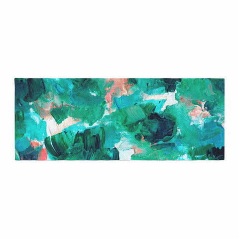 "Ebi Emporium ""Floral Spray 4"" Red Floral Abstract Painting Mixed Media Bed Runner"