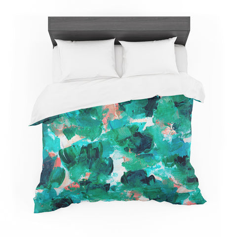 "Ebi Emporium ""Floral Spray 4"" Red Floral Abstract Painting Mixed Media Featherweight Duvet Cover"