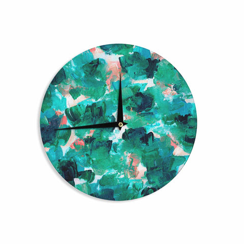 "Ebi Emporium ""Floral Spray 4"" Red Floral Abstract Painting Mixed Media Wall Clock"