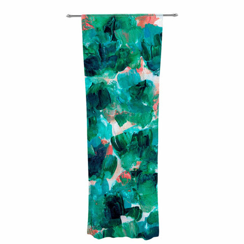 "Ebi Emporium ""Floral Spray 4"" Red Floral Abstract Painting Mixed Media Decorative Sheer Curtain"