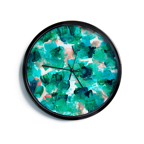 "Ebi Emporium ""Floral Spray 4"" Red Floral Abstract Painting Mixed Media Modern Wall Clock"