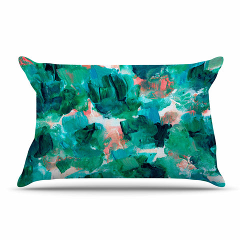 "Ebi Emporium ""Floral Spray 4"" Red Floral Abstract Painting Mixed Media Pillow Sham"