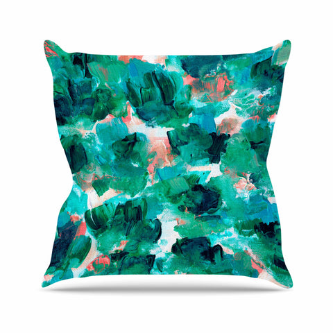 "Ebi Emporium ""Floral Spray 4"" Red Floral Abstract Painting Mixed Media Throw Pillow"
