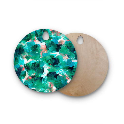 "Ebi Emporium ""Floral Spray 4"" Red Floral Abstract Painting Mixed Media Round Wooden Cutting Board"