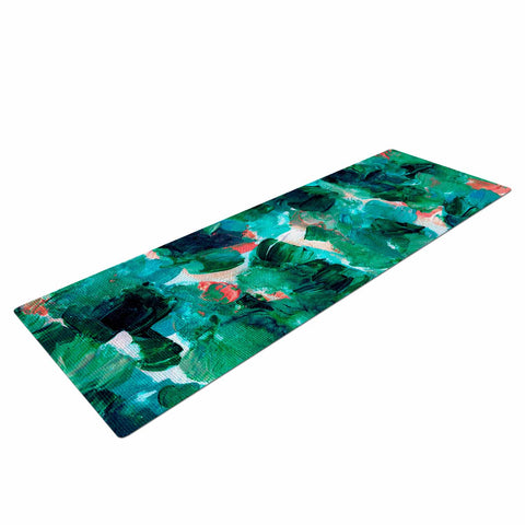 "Ebi Emporium ""Floral Spray 4"" Red Floral Abstract Painting Mixed Media Yoga Mat"