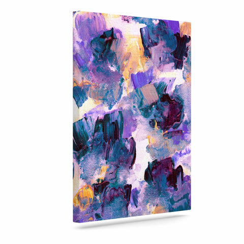 "Ebi Emporium ""Floral Spray 2"" Green Teal Floral Abstract Painting Mixed Media Art Canvas"