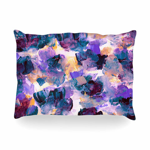 "Ebi Emporium ""Floral Spray 2"" Green Teal Floral Abstract Painting Mixed Media Oblong Pillow"