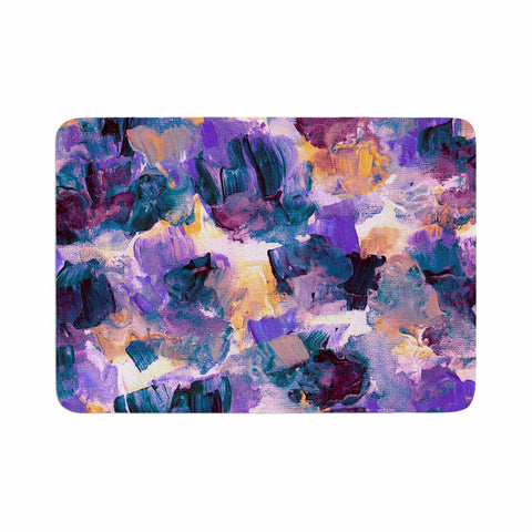 "Ebi Emporium ""Floral Spray 2"" Green Teal Floral Abstract Painting Mixed Media Memory Foam Bath Mat"