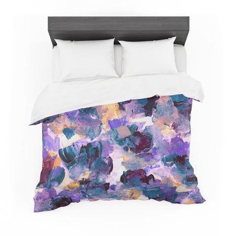 "Ebi Emporium ""Floral Spray 2"" Green Teal Floral Abstract Painting Mixed Media Featherweight Duvet Cover"