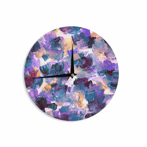 "Ebi Emporium ""Floral Spray 2"" Green Teal Floral Abstract Painting Mixed Media Wall Clock"