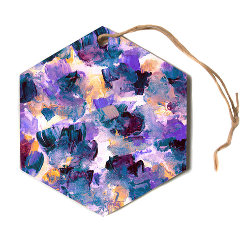 "Ebi Emporium ""Floral Spray 2"" Green Teal Floral Abstract Painting Mixed Media Hexagon Holiday Ornament"