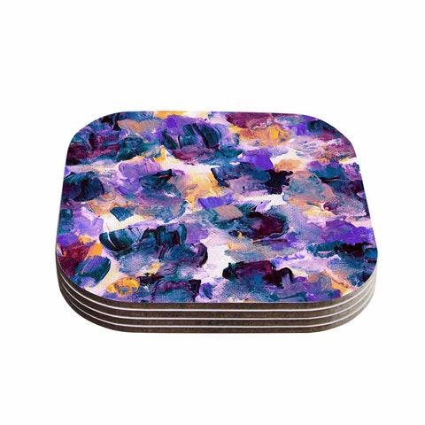 "Ebi Emporium ""Floral Spray 2"" Green Teal Floral Abstract Painting Mixed Media Coasters (Set of 4)"
