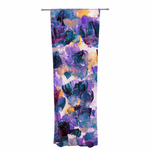 "Ebi Emporium ""Floral Spray 2"" Green Teal Floral Abstract Painting Mixed Media Decorative Sheer Curtain"