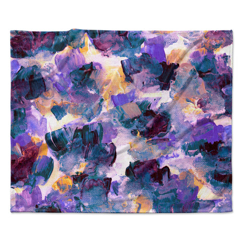 "Ebi Emporium ""Floral Spray 2"" Green Teal Floral Abstract Painting Mixed Media Fleece Throw Blanket"