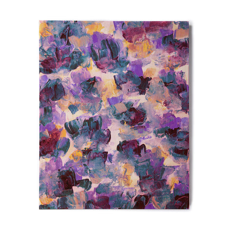 "Ebi Emporium ""Floral Spray 2"" Green Teal Floral Abstract Painting Mixed Media Birchwood Wall Art"