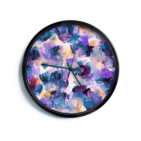 "Ebi Emporium ""Floral Spray 2"" Green Teal Floral Abstract Painting Mixed Media Modern Wall Clock"