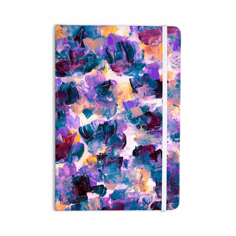 "Ebi Emporium ""Floral Spray 2"" Green Teal Floral Abstract Painting Mixed Media Everything Notebook"
