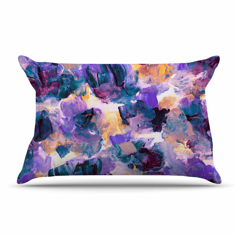 "Ebi Emporium ""Floral Spray 2"" Green Teal Floral Abstract Painting Mixed Media Pillow Sham"
