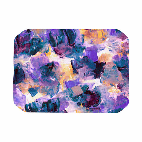"Ebi Emporium ""Floral Spray 2"" Green Teal Floral Abstract Painting Mixed Media Place Mat"