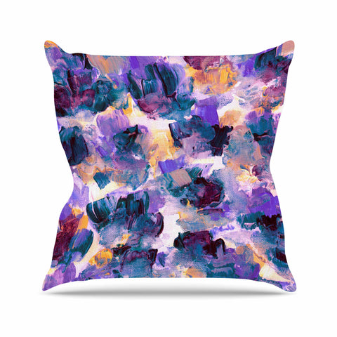 "Ebi Emporium ""Floral Spray 2"" Green Teal Floral Abstract Painting Mixed Media Outdoor Throw Pillow"