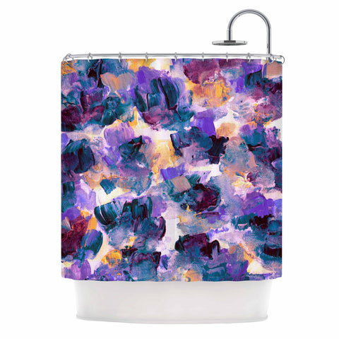 "Ebi Emporium ""Floral Spray 2"" Green Teal Floral Abstract Painting Mixed Media Shower Curtain"