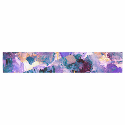 "Ebi Emporium ""Floral Spray 2"" Green Teal Floral Abstract Painting Mixed Media Table Runner"