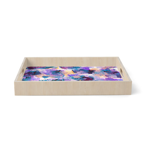"Ebi Emporium ""Floral Spray 2"" Green Teal Floral Abstract Painting Mixed Media Birchwood Tray"