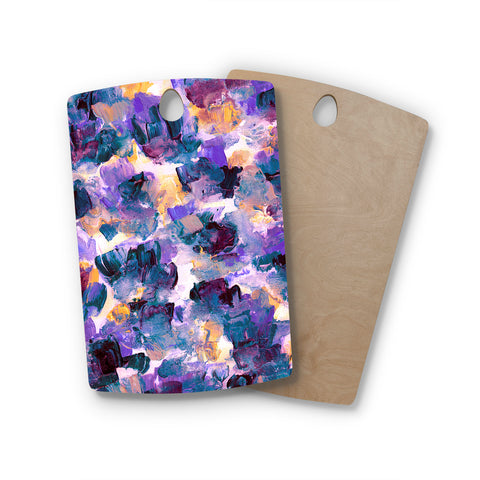 "Ebi Emporium ""Floral Spray 2"" Green Teal Floral Abstract Painting Mixed Media Rectangle Wooden Cutting Board"