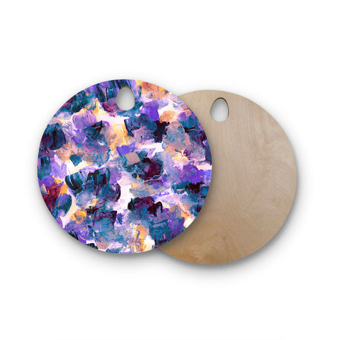 "Ebi Emporium ""Floral Spray 2"" Green Teal Floral Abstract Painting Mixed Media Round Wooden Cutting Board"