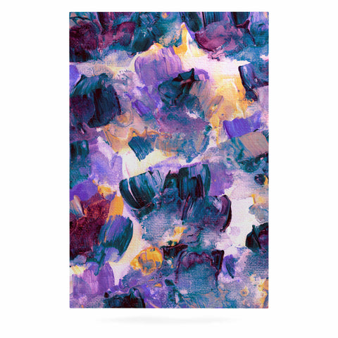 "Ebi Emporium ""Floral Spray 2"" Green Teal Floral Abstract Painting Mixed Media Luxe Rectangle Panel"