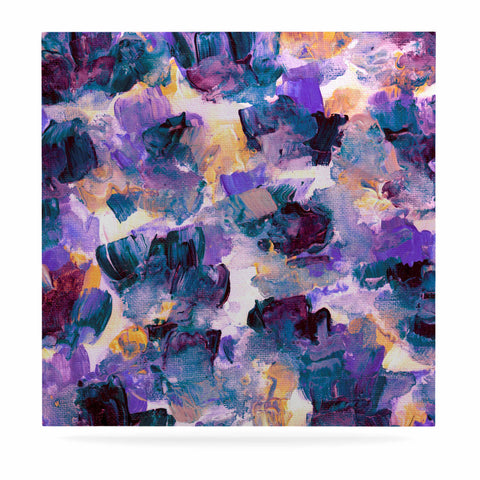 "Ebi Emporium ""Floral Spray 2"" Green Teal Floral Abstract Painting Mixed Media Luxe Square Panel"