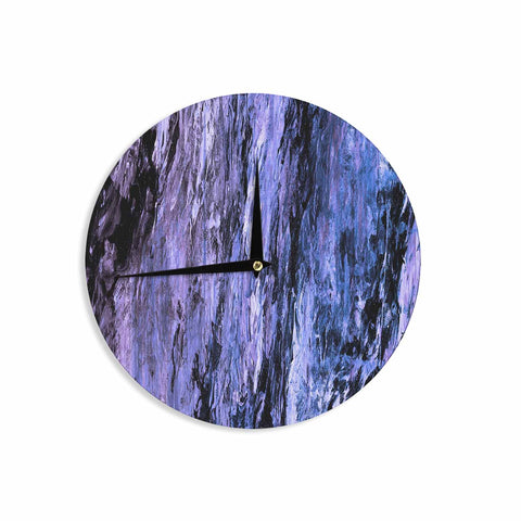 "Ebi Emporium ""RAINBOW BARK 6"" Purple Lavender Abstract Nature Painting Mixed Media Wall Clock"