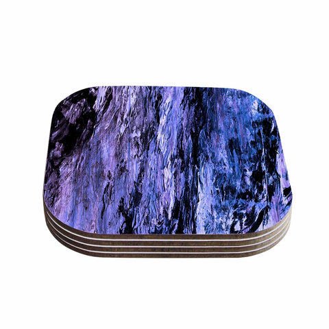 "Ebi Emporium ""RAINBOW BARK 6"" Purple Lavender Abstract Nature Painting Mixed Media Coasters (Set of 4)"