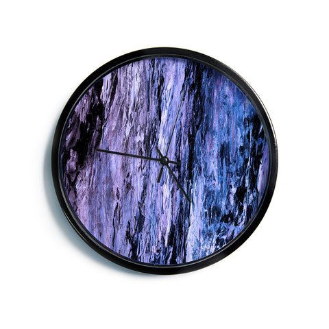 "Ebi Emporium ""RAINBOW BARK 6"" Purple Lavender Abstract Nature Painting Mixed Media Modern Wall Clock"