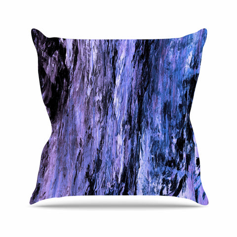 "Ebi Emporium ""RAINBOW BARK 6"" Purple Lavender Abstract Nature Painting Mixed Media Outdoor Throw Pillow"