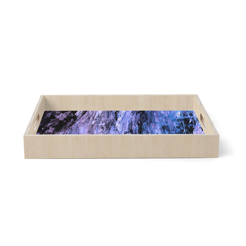 "Ebi Emporium ""RAINBOW BARK 6"" Purple Lavender Abstract Nature Painting Mixed Media Birchwood Tray"