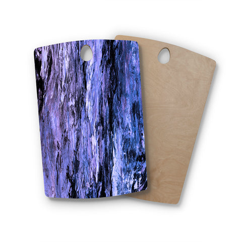 "Ebi Emporium ""RAINBOW BARK 6"" Purple Lavender Abstract Nature Painting Mixed Media Rectangle Wooden Cutting Board"