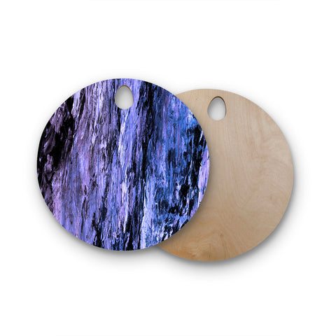 "Ebi Emporium ""RAINBOW BARK 6"" Purple Lavender Abstract Nature Painting Mixed Media Round Wooden Cutting Board"