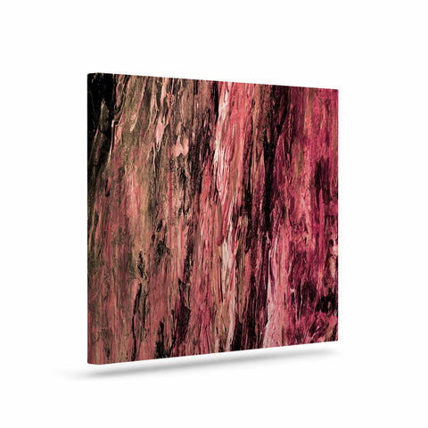 "Ebi Emporium ""RAINBOW BARK 4"" Magenta Coral Abstract Nature Painting Mixed Media Art Canvas"