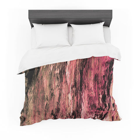 "Ebi Emporium ""RAINBOW BARK 4"" Magenta Coral Abstract Nature Painting Mixed Media Featherweight Duvet Cover"