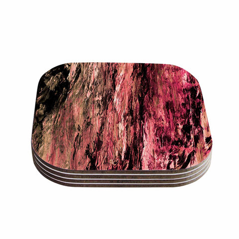 "Ebi Emporium ""RAINBOW BARK 4"" Magenta Coral Abstract Nature Painting Mixed Media Coasters (Set of 4)"