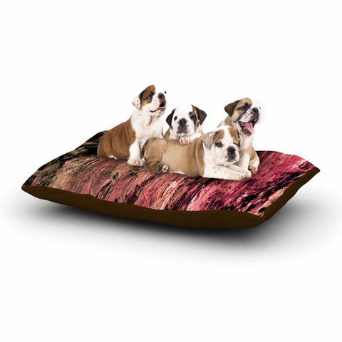 "Ebi Emporium ""RAINBOW BARK 4"" Magenta Coral Abstract Nature Painting Mixed Media Dog Bed"